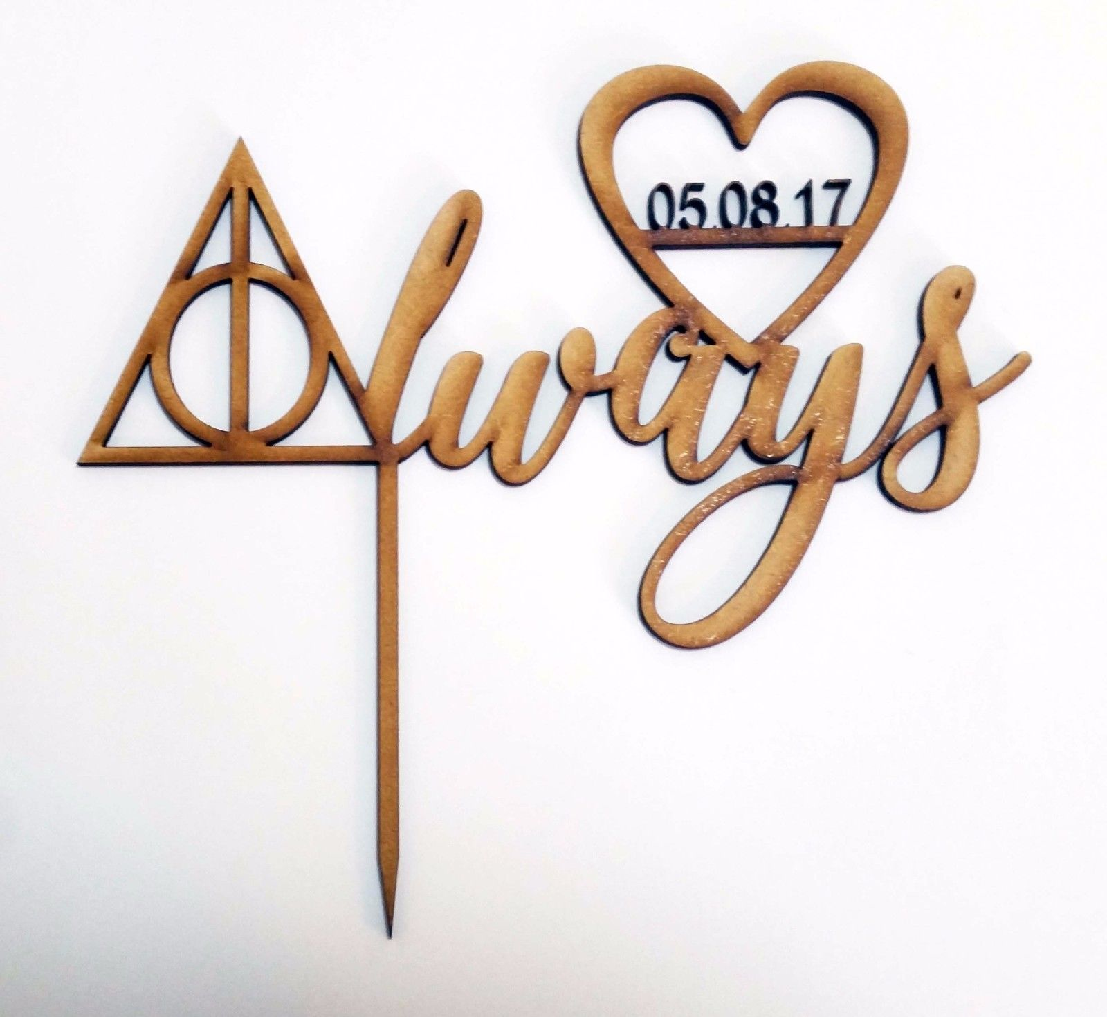 Personalised Always Cake Topper Sign Laser Wood Wedding Harry Potter